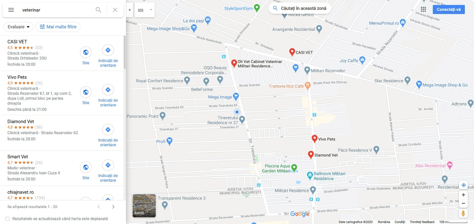 Google Maps implementat in motorul de cautare Google